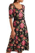NWT  DOLCE & GABBANA floral print midi black dress size 40