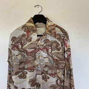 Donegal Vintage NICE Designer Men's Jungle Theme  Button Down L/S Shirt Size L