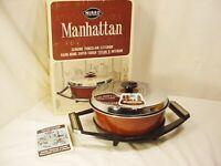 Vtg MIRRO Manhattan 2.5 Qt. Casserole Pot Lid Cradle NIB NOS Enamelware NonStick