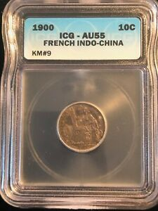 1900 10 Cents Silver French Indo China KM #9 ICG AU55 Coin