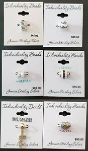 New - Individuality Beads Genuine Sterling Silver Crystal Bead Charms - Various