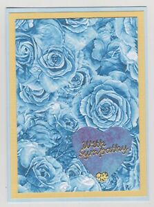Blank Handmade Greeting Card ~ WITH SYMPATHY with BLUE EMBOSSED ROSES AND HEARTS