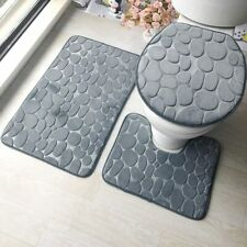 3 Teilig Set Badematte Badvorleger Badgarnitur Duschvorleger Teppich WC-Vorleger