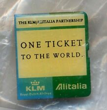 Alitalia KLM airline sealed pin 98 One ticket to the world crew wing badge ax