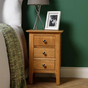 Scandi Oak 3 Drawer Bedside Cabinet / Solid Wood Nightstand / Bedside Table Unit