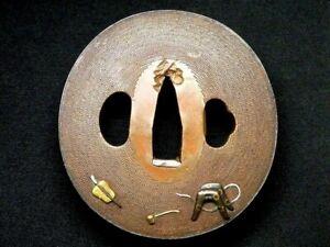 Edo period Japan antique copper Harness Military Fan Tsuba NBTHK paper Box sword