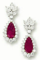 Dangle Wedding Earring Solid Sterling Silver 925 Jewelry Red Pear  Nw Jewelry CZ