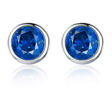 Blue - Sterling Silver and Blue Cubic Zirconia Small 5.5 mm Stud Earrings