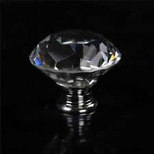 40mm Diamond Clear Crystal Glass Door Pull Drawer Cabinet Handle Knob PR