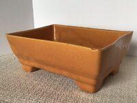 USA Pottery Orange Glaze Good Luck Bonsai Bamboo Weed Flower Pot Planter MCM VTG