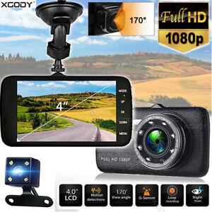 "XGODY 4"" 1080P Dash Cam Dual Lens Car DVR Video Recorder G-sensor Night Vision"