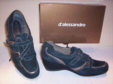 Scarpe sportive sneakers D'Alessandro donna zeppa pelle camoscio blu 35 38 39