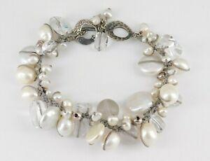 Silpada 925 Sterling Silver Pearl Quartz Effervescence Toggle Bracelet B2180