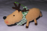 Harry David 4 inch Cloth Reindeer Christmas Ornament Green Check Scarf Holiday