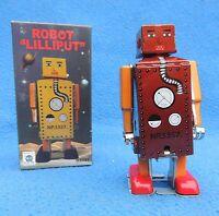 Robot mécanique en tole. ROBOT LILLIPUT mini modèle rouge foncé. ht  10 cm