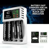 Rechargeable Smart Battery Fast Charger for AA AAA 4 Ports LED Indicator White