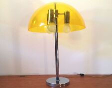 Retro MCM Chrome & Acrylic MUSHROOM TABLE LAMP Yellow Shade 3 Lite Vtg accent
