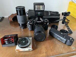 Boîtier Canon A1 Livré 2 Optiques, Divers Filtre, Flash, Trépied, Moteur Bobine