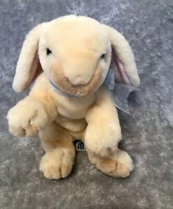 """Tesco Bunny Rabbit Beige With Bow 9"""" Beanie Bottom Soft Toy"""
