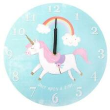 UNICORN RAINBOW CHILDREN'S WALL CLOCK BLUE WHITE PINK PURPLE 33.5CM X 2CM