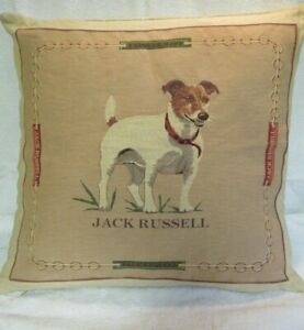 Lovely Jack Russell Embroidered Style Cushion Cover 45x45 cms