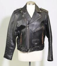 Vintage Leather Men Black Leather Biker Jacket with Fringe Zipper Pulls