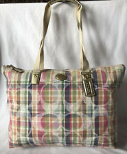 COACH Multicolored Signature Plaid Fabric Packable Tote Handbag EUC