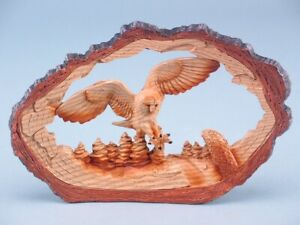 Free Standing Wood Effect Flying Owl In Log Ornament