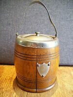 Vintage Oak Biscuit Barrel with Metal Fixtures & Carry Handle (Plaque to Front)