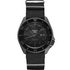 New Seiko 5 Automatic Black Dial Black Nylon Strap Men's Watch SRPD79