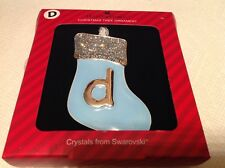 """Harvey Lewis Crystals From Swarovski """" d"""" stocking Christmas Ornament New"""