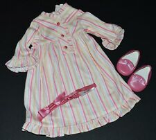 Kit Striped Nightie! American Girl Doll~Retired! Nightgown~Headband~Slippe rs!