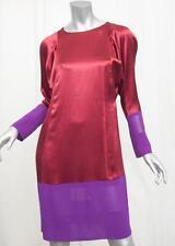 BALENCIAGA Womens Red+Purple Silk Satin Long-Sleeve Shift Dress 38/6 S