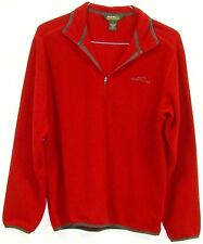 Eddie Bauer Mens Red 100% Polyester Long Sleeve 1/4 Zip Pullover Sweatshirt S