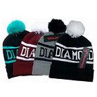 "Unisex Winter Warm "" Diamond "" Plain BEANIE Knit Ski HAT HATS Ski Cap - 4 Color"
