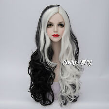 Punk Rock Black Mixed White 75CM Long Curly Hair Lady Party Cosplay Wig + Cap