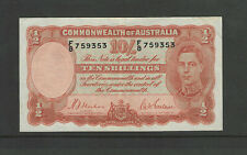 Australia # 25A VF George VI 6th 10 Shilling Note 1 Bend in Middle