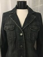 Talbots Women's Jacket Denim Jean Dark Wash Flap Pocket Stretch Size 10