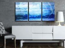 "Wall26 - Abstract Blue Artwork - Canvas Art Wall Decor - 16""x24""x3 Panels"