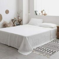Simple&Opulence Flat Sheet King -100% Washed Linen-Embroidered Solid Flat Top Sh