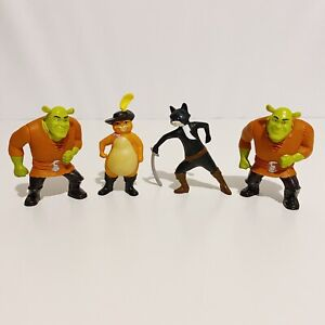 4 x Shrek and Puss In Boots McDonald's Toy Lot Bundle
