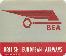 BEA BRITISH EUROPEAN AIRWAYS VINTAGE AIRLINE AVIATION LUGGAGE LABEL