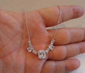 SQUARE HALO CENTER NECKLACE PENDANT W/ LAB DIAMONDS / 18''/925 STERLING SILVER
