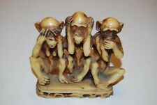 Vintage Cream Resin Three Wise Monkeys Hear Speak See No Evil 5inW x 4.75H
