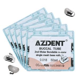 5Box AZDENT Dental Orthodontics Bondable 2nd Molar Buccal Tube Roth 0.018 U1/L1