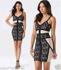 $159 NWT bebe black ivory floral lace straps bandage zip back top dress S small