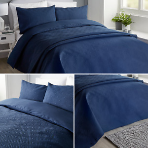 Navy Serene KINSLEY Pinsonic Geometric Quilted Textured Duvet Quilt Cover Set