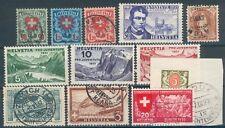 Schweiz Lot mit 12 Werten dabei 194-96o,246/49**,121,226,336... (MICHEL € 50,00)