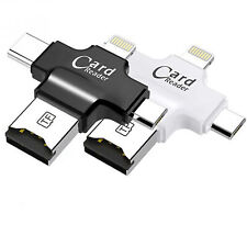 More details for (new) micro sd card reader (4 in 1) with 8 pin/usb-c/micro usb - black uk seller