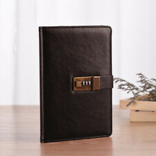 Vintage Brown PU Leather Diary Journal Note Book With Combination Lock